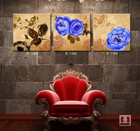Cheap Modern Home Interior Decor Wall Panels Classical Blue Flower Room Murals Painted Canvas Paintings Arts Picture for Living Room