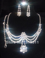 Wholesale sparkling Jewelry Set Clear Rhinestone Set rhinestone jewelry sets for wedding in high quality