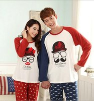 men cotton pajamas set - 2014 Autumn Long Sleeved Pajamas Cartoon Couple Pajama Sets Winter Pyjamas for Men and Women Cotton Size Pajamas Sleepwear B