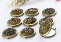 Wholesale Pocket Retro Vintage Style Butterfly flower Peacock Makeup Cosmetic Pocket Compact Stainless Mirror