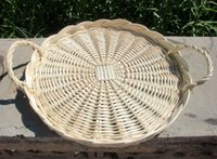 bamboo tray tables - Free shiping Natural willow bread handicraft vintage teaberries pallet fruit plate display tray fruit tea wicker desert table