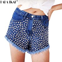 Cheap Women Rivet Studded Denim Shorts Blue Ripped Punk Shorts High Waist Spike Glitter Shorts KWE0028-5