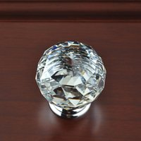 Cheap 30mm Diamond Shape Glass Crystal Door Knob Handle Pull for Cabinet Drawer Clear Free Shipping, dandys