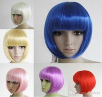 Wholesale Bob wig dance party wig Synthetic Fiber Short Blonde Bob Wigs for Women mix many colors New fashion