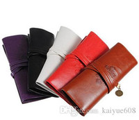 pen pouch - Hot Selling Fashion Unisex Casual Vintage Style PU Leather Pencil Pen Case Cosmetic Makeup Bag Pouch Pocket Bag Wallet