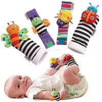 Wholesale 2015 Fashion New arrival baby rattle baby toys Lamaze plush Garden Bug Wrist Rattle Foot Socks Styles