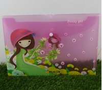 beautiful portfolios - Cartoon beautiful girl A4 file bag portfolio folder pieces