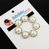 rhinestone buttons - 20mm Silver Plated Crystal Pearl Rhinestone Buttons Flatback Hair Dress Jewelry Accessory PJ61