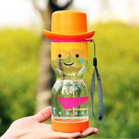 plastic cup with lid - Water Cup Plastic material Cartoon style Sports cup Transparent Couples Cup cm Orange Q ml