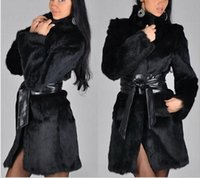 belted coat with fur collar - Fur Coat Female Fashion New Womens Fashion Winter Leather Grass Synthetic Rabbit Faux Fur Thick Jacket Outerwear new arrive free ship