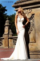 Wholesale Sexy Tarik ediz Ivory Mermaid Prom dress Sheer Straps Long Custom Made Beads Evening Dresses Sheath Wedding Bridal Gown