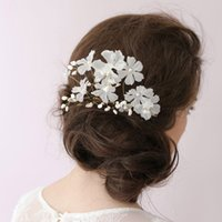 Actual Images Sweetheart Taffeta Handmade Flowers Bridal Wedding Hair Accessories CPA099 With Beading Pearls Fashion New Arrival Women Accessories For Wedding Party