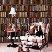 Wholesale Bookshelf print Pure paper Wallpapers random match wall art decal for home office shop bar decoration m m