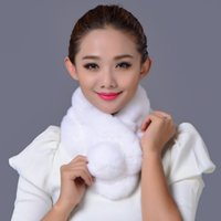 Wholesale Lady Scarf Rex Wool Scarf Rabbit Fur Collar Female Winter Real Fur Scarves Women s Lady Rabbit Fur Collar Neck Colors