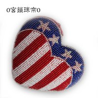 beaded headphones - The influx of people in Europe and America style American flag purse handmade beaded beaded bag coin bag headphones bag boutique handbag