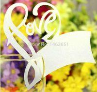 achat en gros de table verre offre-100 PCS Laser Tableau de mariage de coeur Cut Amour Décoration Verre à vin Cartes d'endroit Numéros de sièges de mariage Party Decoration Supplies