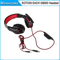 Wholesale KOTION EACH G9000 mm Gaming Headphone Headband Headset with Microphone LED Light for Laptop Mobile Phones Xbox ONE PS4 by DHL