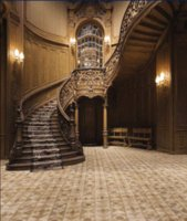 Wholesale Vintage Wood Spiral Staircase Lamps Carpet Background Wedding Photography Indoor Studio Gallery Decor x7ft Vinyl Cloth Backdrop