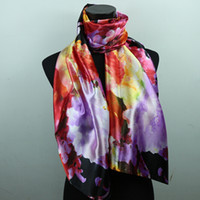 long silk scarf - 1pcs Purple Red Black Lily Flower Women s Fashion Satin Oil Painting Long Wrap Shawl Beach Silk Scarf X50cm