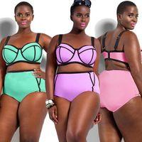 beautiful swimsuits - Bikini set Underwire for Big and Beautiful Womens Big Size Swimwears up to XL high waist bikinis Swimsuit XL XL Plus Size SC