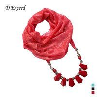 Wholesale Middle East Scarf Pendant for Women Personality Plain Jewelry Scarf Necklace with Big Acrylic Beads Charms Pendant Scarves SC150146