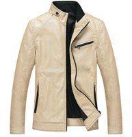 aviation leather jackets - Fall New Beige White Leather Jacket Men Jaqueta Couro De Masculino Chaquetas Cuero Motorcycle Coat Leather Coat Aviation Jacket