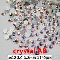 glue on nails - Glue on rhinestones for nail ss12 mm Crystal AB rhinestones on nail non hotfix