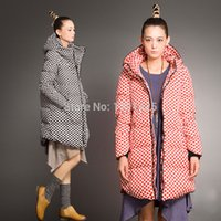 Cheap Wholesale-2015New Women Winter Coat 5XL Plus Size Black Red Wave Point Long Hooded Down Jacket Miss fofo abrigos y chaquetas Free shipping
