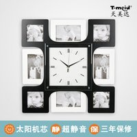 big digital photo frame - Personalized wall clock mute creative clock big square quartz clock photo frame decoration clock