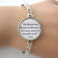 beautiful rings for men - Bracelet The flower that blooms in adversity is the rarest and most beautiful of all Mulan Quote For Women Men Spirit Jewelry