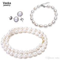 pearl - Veeka jewelry sets natural freshwater pearl necklace bracelets sterling silver earrings fresh water pearl wedding jewelry