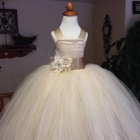 Wholesale vintage lace rustic champagne color spaghetti straps fluffy tulle ball gown flower girl dresses for weddings evening party
