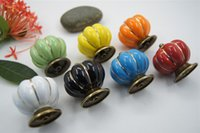 Wholesale New Pumpkins Knobs Ceramic Door Cabinet Cupboard Handles Pull Drawer mm