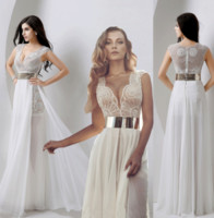real pearl - In Stock Sexy V Neck Sheer Wedding Prom Gowns Julie vino Real Image Pearls Lace Chiffon Beach Garden Party Dresses with Gold Belt Cheap