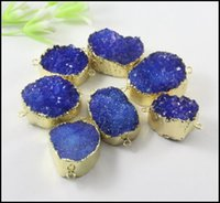 Wholesale 5pcs Gold plated Nature Druzy stone Connector in Dark Blue color Quartz Drusy gemstone Connector Pendant Beads Bracelet Jewelry Findings