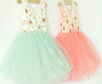 Cheap baby girl kids vintage dress lace dress flower tutu dress floral tutu dress tulle layers gauze princess costumes vest dress waistband belt 4