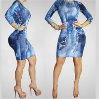 acid blend - New vestidos sexy new arrival long sleeve girl dress Acid Wash Denim Blue Panel Accent Bodycon Dresses winter for women