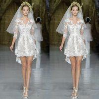 Wholesale 2014 Popular Style Zuhair Murad Short Wedding Dresses Half Sleeve V Neck White Lace Tulle Sheath Mini Bridal Gowns Custom Made W527