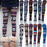 Wholesale 2014 Women Printed Leggings Colorful Snowflake Christmas Deer Graffiti Legging Cashmere Knitted Slim Leggings Tights