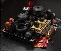 Wholesale New Instocked Hot Sale Ordovician Tea set Ceramic kungfu Tea Set Solid Wood Tea Tray kungfu tea set