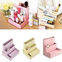 Cheap 2015 New Stylish DIY Paper Board Storage Box Desk Decor Stationery Makeup Cosmetic Organizer