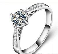 al por mayor 18k anillo de diamantes de oro sólido-Envío Gratis Bellas EE.UU. GIA certificado 1 ct moissanite anillos de compromiso 18K oro blanco simular anillos de diamantes para las mujeres, sólido anillo de oro blanco