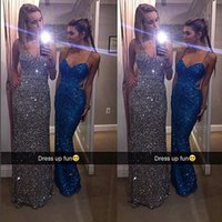 Wholesale 2016 Sparkly Backless Arabic Prom Dresses Halter Crystals Sheath Sequined Prom Gowns Sexy Cheap Formal Dresses