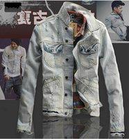 acid wash vintage denim jacket - 2016 New Spring Mens Denim Jacket Coat Ripped Distressed Acid Washed Casual Jackets Vintage Jeans Jacket veste jeans homme