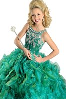 Wholesale 2014 Hot Sale Beads Ball gown spaghetti kids Party Prom dresses Ritzee Girls Pageant Dress Cute Birthday Party Gowns