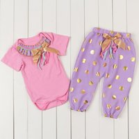 baby onesie sets - Pink Purple Gold Baby Girls Clothes Glitter Gold Polka Dot Baby harem pants with onesie set newborn toddler outfit