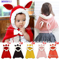 Wholesale Bunny Style Baby Hat with Cape Girls One piece Knitted Beanie Hat Children Winter Cloaks X Xmas Gift set MH0011