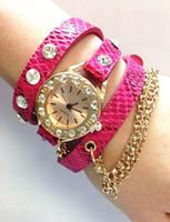 Relojes de pulsera de cuero largos de la mujer del reloj del cuarzo de la cadena de la honda de la honda del estilo hawaiano P2015opular de la manera CALIENTE los más nuevos