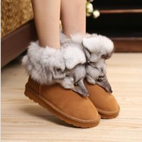 Cowskin big black rabbit - Fashion Snow Boots Genuine Fox Head Rabbit Fur Leather Winter Boots For Women Warm Shoes Size big size