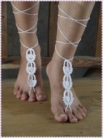 belly dance shoes sandals - Barefoot sandals crochet lace anklets Victorian belly dance anklets yoga shoes cotton foot jewelry single